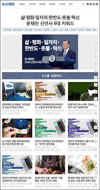 비디오랩, 데이터랩, 비주얼랩, 스토리랩 등으로 꾸려진 한경닷컴 뉴스래빗 홈페이지.