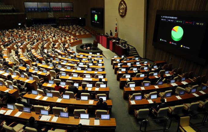 지난달 28일 서울 영등포구 여의도 국회에서 진행된 제356회 국회(임시회) 제9차 본회의에서 근로기준법 일부개정 법률안이 본회의를 통과했다.(뉴시스)